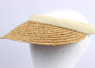 Raffia visor w cotton headbands natural HS/1333