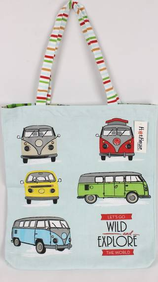 Campervan tote bag 'Let's go wild and explore the world' Code: TB-CAM