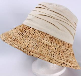 Fabric crown w raffia brim hat natural Style: HS/1403NAT