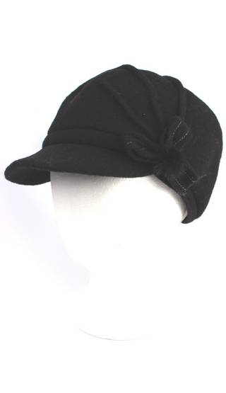 Headstart wool felt cap w pleats,flower black Style : HS/1411
