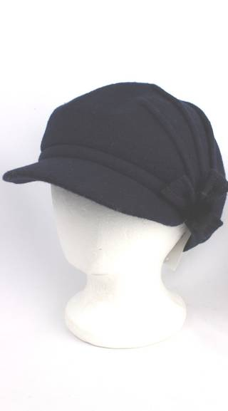 Headstart wool felt cap w pleats,flower navy Style : HS/1411