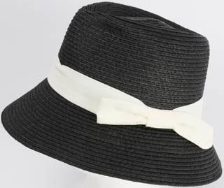 HEAD START Fedora shaped crown ivory band and bow downturn black Style: HS/1418/BLACK