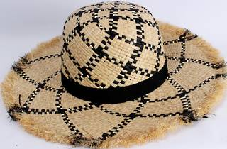 HEAD START  black and natural wide brim frayed edge raffia sunhat w black band.  Style: HS/1423/NAT/BLK