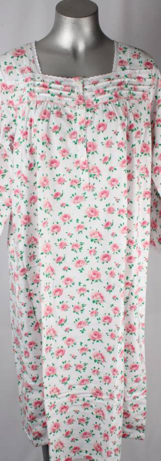 Brushed cotton winter nighties pink floral design Style; AL/ND-176