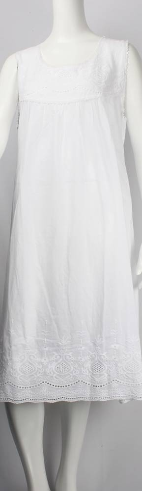 Cotton sleeveless 3/4 length  nightie w lace trim and embroidered bodice and hem Style: AL/ND-190WHT