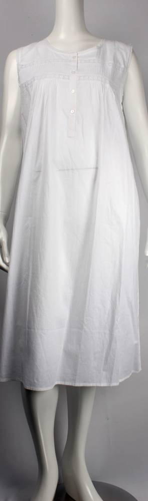 Cotton sleeveless 3/4 length nightie w round neck,lace,pintucks and button neck Style: AL/ND-194WHT