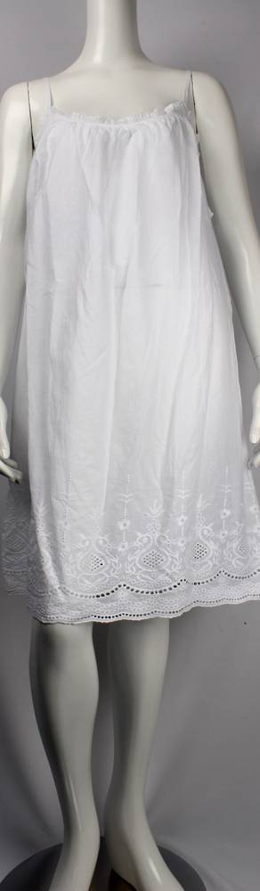 Cotton shoe string  nightie w ruffle neck and embroidered hem Style: AL/ND-228WHT
