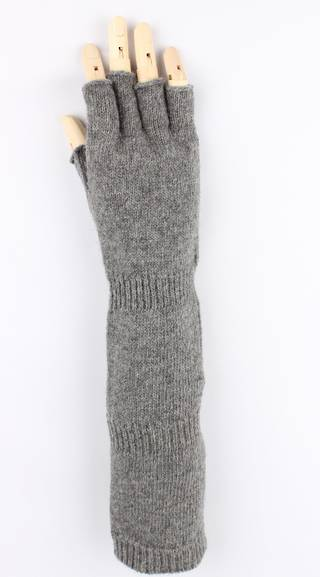 Ladies wool/angora long  fingerless glove charcoal S/LK2366