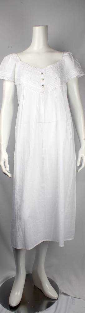 Cotton cap sleeve  nightie w embroidery and lace V neck  Style: AL/ND-248WHT