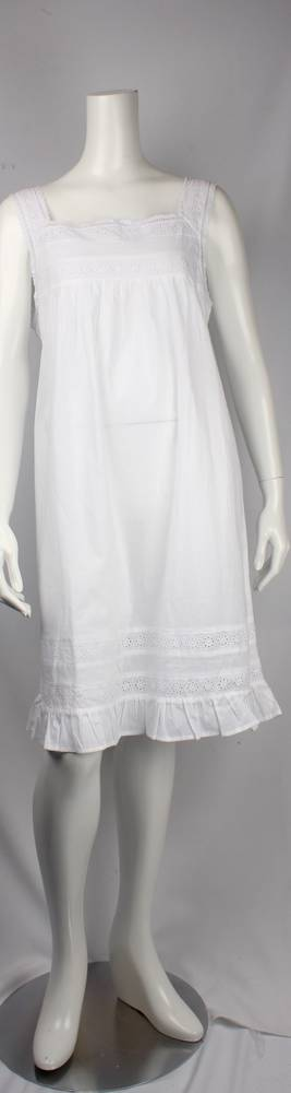 Cotton  sleeveless square neck nightie. lace with ruffle hem  Style: AL/ND250WHT