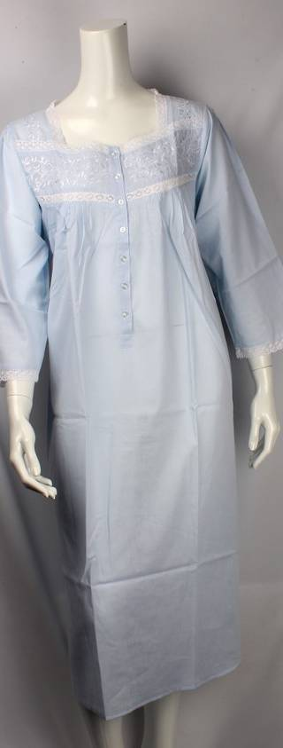 Cotton nightie w long sleeves and  embroidered flowers blue Style:AL/ND-26