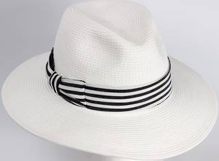 HEAD START White fedora w dashing back and white band Style: HS/1422/WHITE