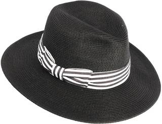 HEAD START Black fedora w dashing back and white band Style: HS/1422/BLACK