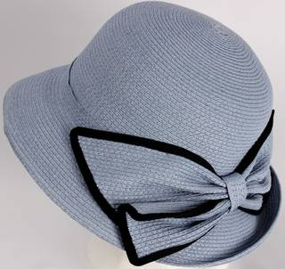 HEAD START Fine braid cloche s w matching trimmed blue bow Style: HS/3024/BLU