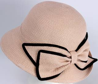 HEAD START Fine braid cloche s w matching trimmed blush bow Style: HS/3024/BLUSH