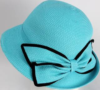 HEAD START Fine braid cloche s w matching trimmed turquoise bow Style: HS/3024/TURQ