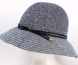 Packable braid hat w band navy Style: H/4234