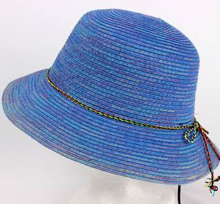 Braid hat with tie trim blue Style: H/4239