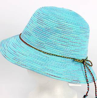 Braid hat with tie trim turq Style: H/4239