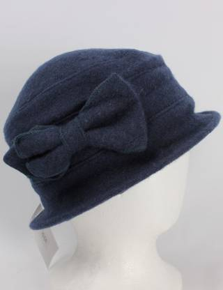 Soft wool felt hat w bow navy Style: HS/4240NVY