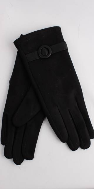 Winter ladies faux suede glove w self buckle trim black Style; S/LK4393