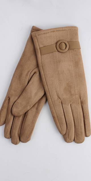 Winter ladies faux suede glove w self buckle trim camel Style; S/LK4393