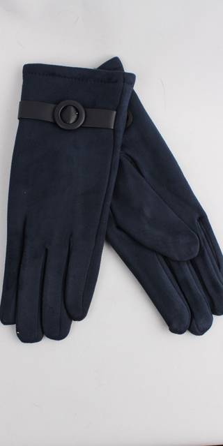 Winter ladies faux suede glove w self buckle trim navy Style; S/LK4393