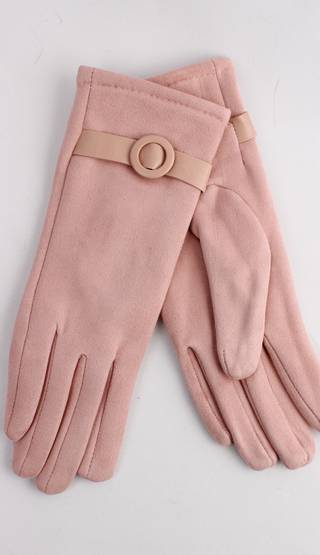 Winter ladies faux suede glove w self buckle trim pink Style; S/LK4393