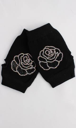 Fingerless glove with metallic rose print black Style: S/Lk4394