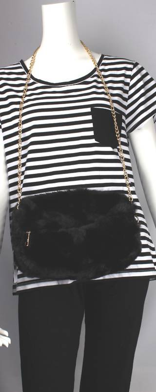 Alice & Lily fur muff/hand bag w gold shoulder chain black STYLE: AL/4412FB/BLK