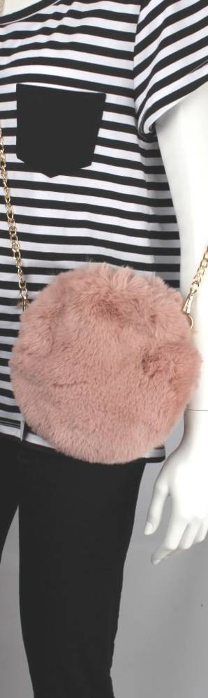 Alice & Lily fur hand bag w gold shoulder chain blush STYLE: AL/4413FB/BLUSH