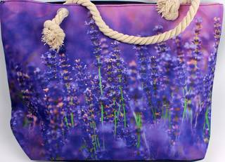 Colourful carry bag w base and rope handle lavender garden Style :AL/4492