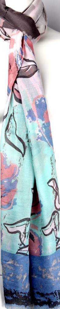 Printed  scarf floral abstract w lurex stems  blue Style:SC/4501/BLUE