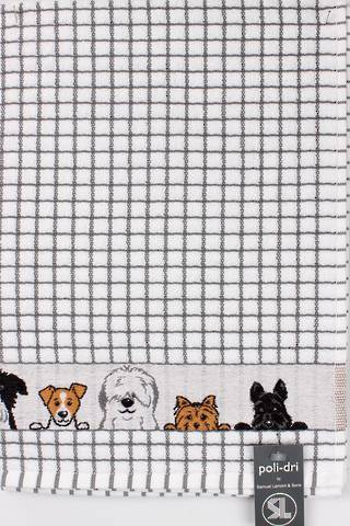 Samuel Lamont poli dri charcoal dogs  tea towel Code:TT-706JDOGS