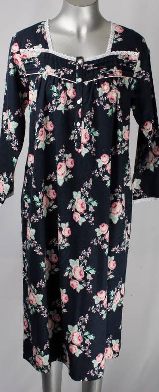 Brushed cotton winter nighties navy rose Style; AL/ND-175