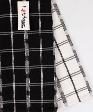 2pack tea towels 'crossroads' black CODE: T/T-CROSS/2PK/BLK