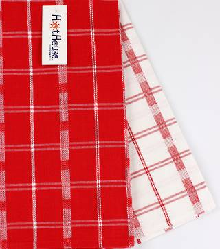 2pack tea towels 'crossroads' red CODE: T/T-CROSS/2PK/RED
