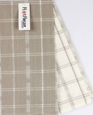 2 pack tea towels 'crossroads' taupe CODE: T/T-CROSS/2PK/TAU