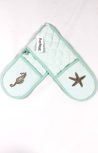 Double mitt oven glove sea shore Code: DM-SEA