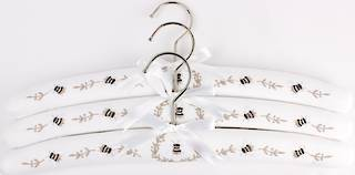Embroidered coat hangers-set of 3 'Bee' Code:EH/BEE Nov delivery