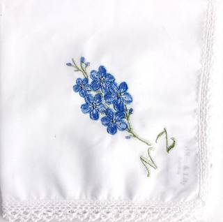 Embroidered lace edged handkerchiefs 'FORGET ME NOT' Style: EHC/FOR