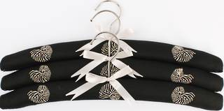 Embroidered coat hangers-set of 3 'Coral' Code:EH/COR/BLK Nov delivery