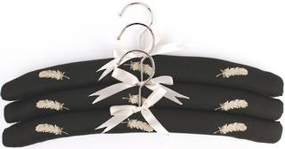 Embroidered coat hangers-set of 3 'Feather' Code:EH/FEA/BLK Nov delivery