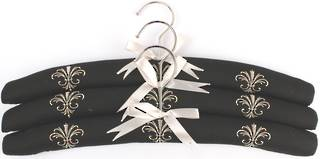 Embroidered coat hangers-set of 3 'Fleur' Code:EH/FLEUR/BLK Nov delivery