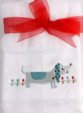 Matching Embroidered 2 facecloth gift set- Dog Code: FAC-DOG/2SET Nov delivery
