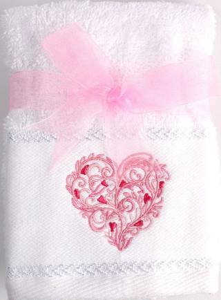 Matching Embroidered 2 facecloth gift set- Heart Code: FAC-HEA/2SET Nov delivery