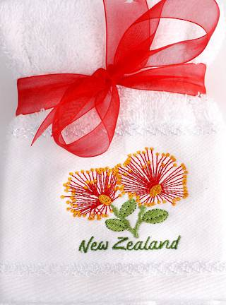 Matching Embroidered 2 facecloth gift set- Pohutakawa Code: FAC-POH/2SET Nov delivery
