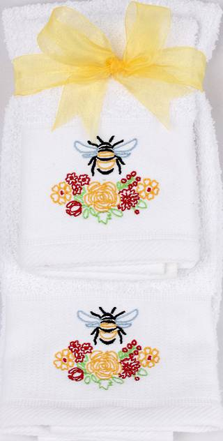 Matching Embroidered Handtowel and facecloth gift set- bee Code: FH-BEE