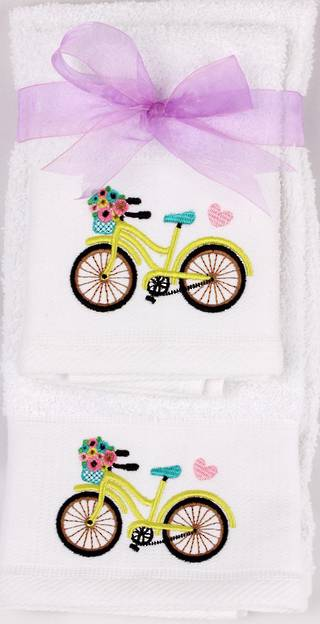 Matching Embroidered Handtowel and facecloth gift set- bicycle Code: FH-BIC