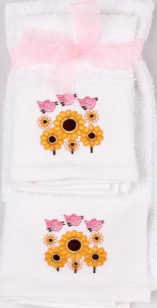 Matching Embroidered Handtowel and facecloth gift set- birds Code: FH-BIR